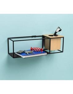 Repisa metálica para pared o escritorio con maceta u organizador de madera