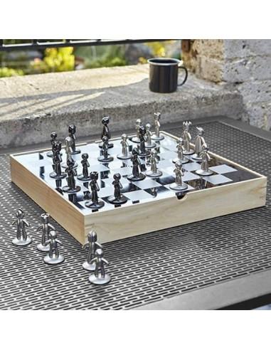 Tablero de ajedrez combinación de madera y metal