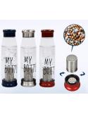 Botella con minerales para transformar agua potable corriente en agua alcalina - Vidrio con funda protectora