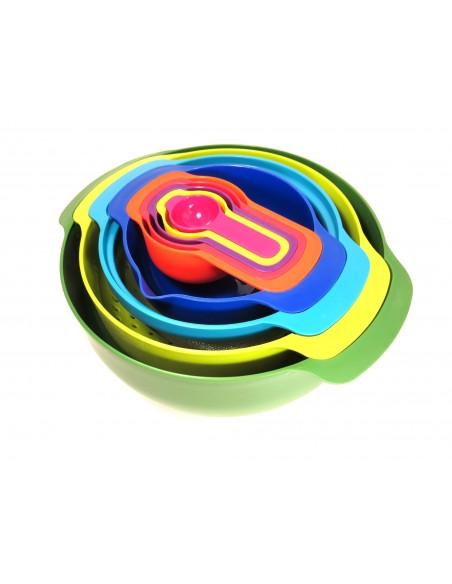 Tazones, coladores y tazas de medida en set de 9 piezas anidadas