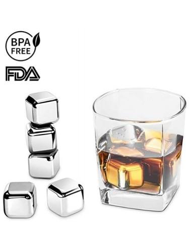 Cubos con pinza para enfriar bebidas en set de 8 piezas - plateados