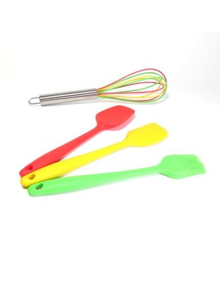 Espátulas, brocha y batidor en set de 4 piezas - Silicona de grado alimenticio