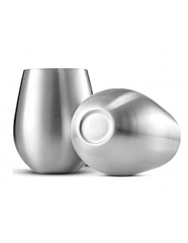 Copas para vino de acero inoxidable en set de 2 piezas