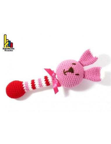 Sonajero tipo bastón tejido a croché para bebé