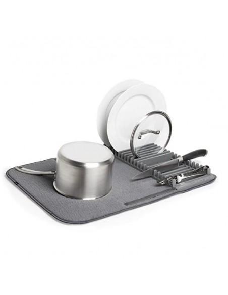 Alfombrilla y rack plegables para secado de vajilla y cristalería
