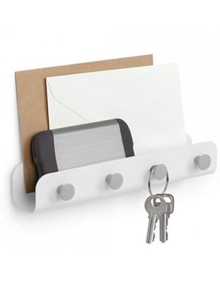 Organizador de pared metálico para documentos y con 4 ganchos para llaves